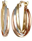 14k Gold Tri-Color Triple Hoop Earrings