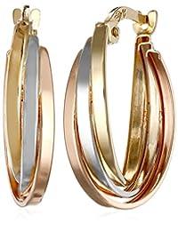 14k Tri-color Gold Overlap Hoop Earrings