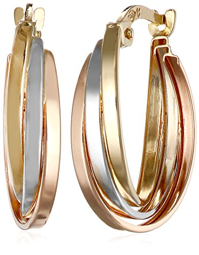 14k Gold Tri-Color Triple Hoop Earrings by Amazon Collection (Image #1)