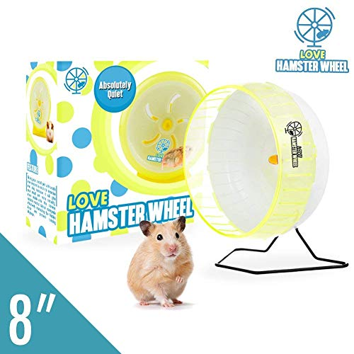 "Hamster Wheel 8"" Pet Comfort Treadmill Running Quiet Wheels Large and Easy Attach to Wire Cage for Small Animals Under 3.5 Oz / 100 Grams Weight Syrian Hamsters Rats Guinea Pig Ferret - Premium PP"