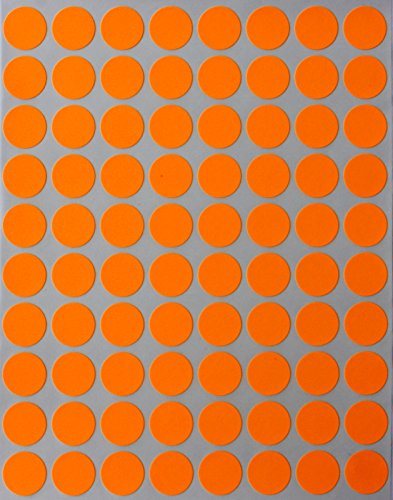 Royal Green Neon Color Coding Labels 1/2 Round 13 mm - Dot Stickers - Half inch Rounds Fluorescent Orange Sticker - 1200 Pack