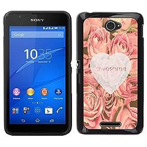 Caucho caso de Shell duro de la cubierta de accesorios de protección BY RAYDREAMMM - Sony Xperia E4 - amor rosas impresionantes corazón primavera rosa