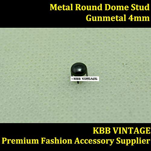 (Garment Rivet - Punk DIY Metal Round Dome Stud 4mm in Gunmetal with 4 Prongs Claws for Leather Craft/Bag/Shoe/Clothing/Cap/Jacket)