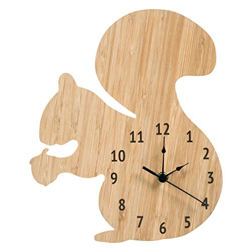 Trend Lab Bamboo Wall Clock, Tan, Squirrel