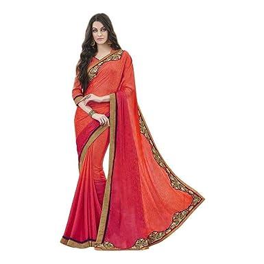 5005c50e506fd4 Amazon.com: Desi Butik Embroidered Fashion Crepe, Jacquard Saree (Orange):  Clothing