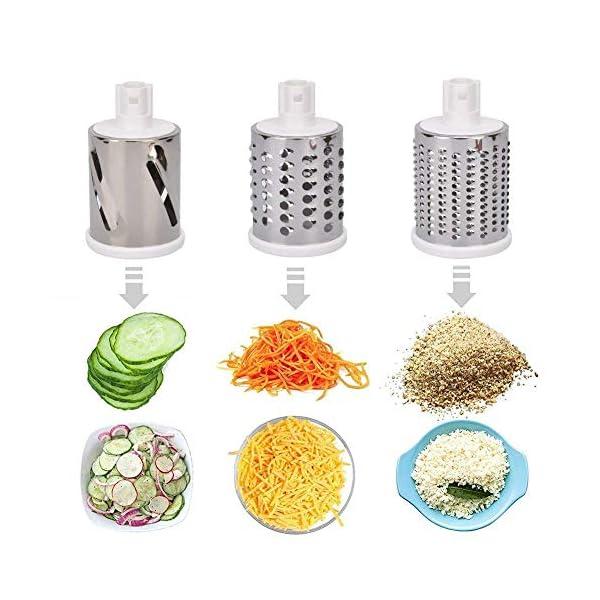 Azornic Mandolina affettatrice per verdure, frutta, verdura, formaggio, formata da grattugia rotante con 3 lame in… 4