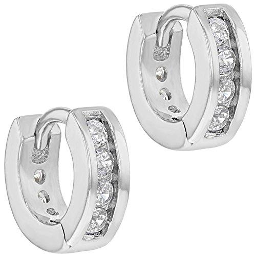da3ba610b5de In Season Jewelry - 925 Plata de Ley Circonita Clara Clásico Aros para  Niñas y Adolescentes
