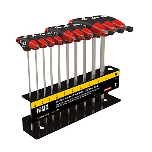 - Klein Tools JTH610EB Hex Key Kit with Stand, Ball End T-Handle, 6-Inch SAE, 10-Piece