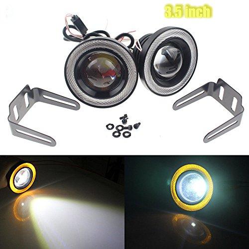 Likethy Car COB LED Fog Light Projector Yellow Halo Ring Angel Eye Driving DRL Bulb 30W 3.5 inch (Yellow Lights Driving)