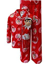 I Love My Elf on the Shelf Snowflake Red Holiday Pajamas for Little Girls