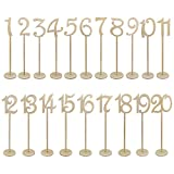 : 20pcs Table Numbers, Jmkcoz 1 to 20 Wood Wedding Table Numbers with Sturdy Holder Base for Party Home Decoration Vintage Birthday Event Banquet Anniversary Decor Natural Wooden Catering Reception