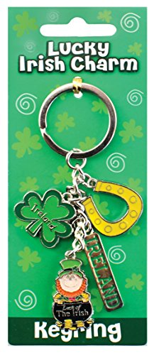 Irish Style Charm Keychain With Horseshoe, Shamrock & Leprechaun In Pot Of - Gold Leprechaun