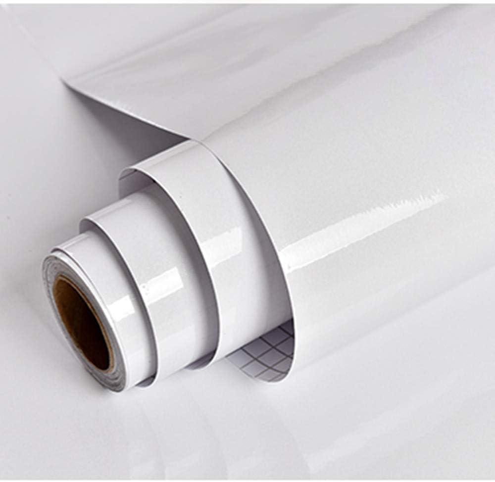 Papel Adhesivo para Muebles Blanco 30cmX3m per Rollo Impermeable Vinilo Pegatina Decorativo Papel Pintado Moderno de PVC para Decorar y Proteger Cocina Baño Dormitorio Sala Habitación PVC