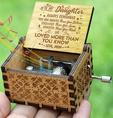 Box Mom Music - Engraved Music Box - You are My Sunshine, Gift for Daughter from Mom - You Are Stronger Than You Seem, Smarter Than You Think - From Mom