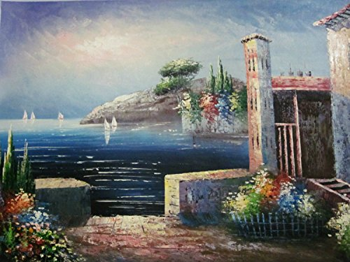 100% Genuine Real Hand Painted Mediterranean Scenes Village Sea Canvas Oil Painting for Home Wall Art Decoration, Not a Print/ Giclee/ Poster, FRAMED, READY TO HANG