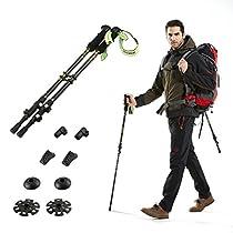 Trekking Poles - QSEKCH Adjustable Hiking Walking Poles Anti-Shock Ultralight Walking Stick with ErgonomicEva Foam Handle for Outdoor Walking Trekking Climbing 2-Pack