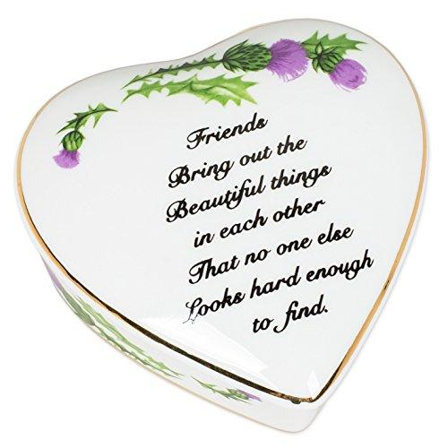 CBE Friends Sentiment Thistles Porcelain Heart Shaped Keepsake Box