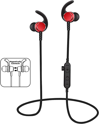 Bluetooth Headphones with TF SD Card Slot, sweatproof Wireless in Ear Earbuds headsets, Bluetooth 4.2 Noise Cancelling Sports Magnetic Bluetooth Wireless Sports Headset Red
