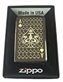 Zippo Custom Lighter - Ace of Spades Laser Engraved Black Ice
