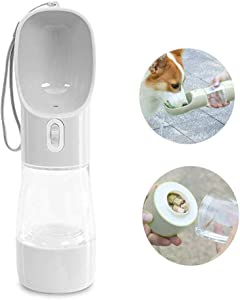 MaoCG Dog Water Bottle for Walking, Multifunctional and Portable Dog Travel Water Dispenser with Food Container,Detachable Design Combo Cup for Drinking and Eating,Suitable for Cats and Puppy Grey