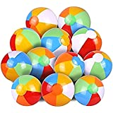 """JEWELS FASHION (1DOZEN)12""""Inflatable Beach Ball-Ideal for Poolside,Decoration,Concerts,Lakes,Beach,BBQ,Camping,Park,Party-Can Be Inflated Via Mouth,Hand Pump, Pressure Pump, etc"""