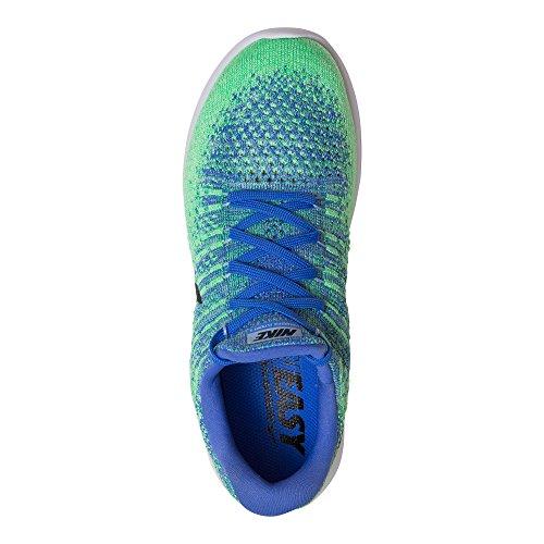 Zapatillas De Running Nike Lunarepic Low Flyknit 2 Para Mujer, Azul Mediano / Negro-aluminio-electro Verde, 9 Us