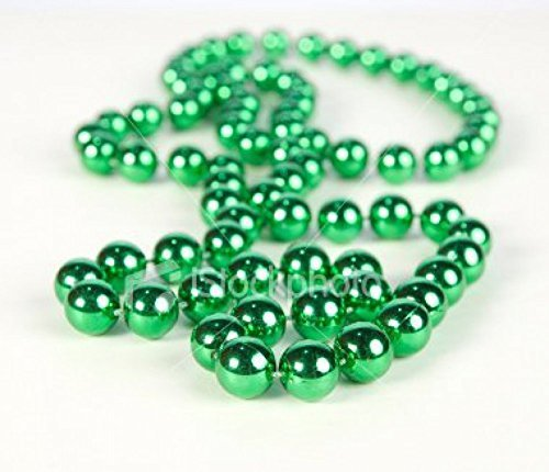 GREEN METALLIC BEADS NECKLACE (4 DOZEN) - (Green Mardi Gras Beads)