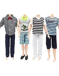 [Patrocinado] 4 Set Casual trajes ropa Tops Pantalones para Barbie Boy Friend Ken Muñecas