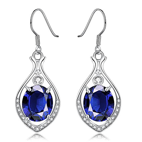 Swarovski Cocktail (Dangle Earrings,Wonvin 18K White Gold Plated Blue Crystal Drop Hook Dangle Earrings for Women Jewelry)