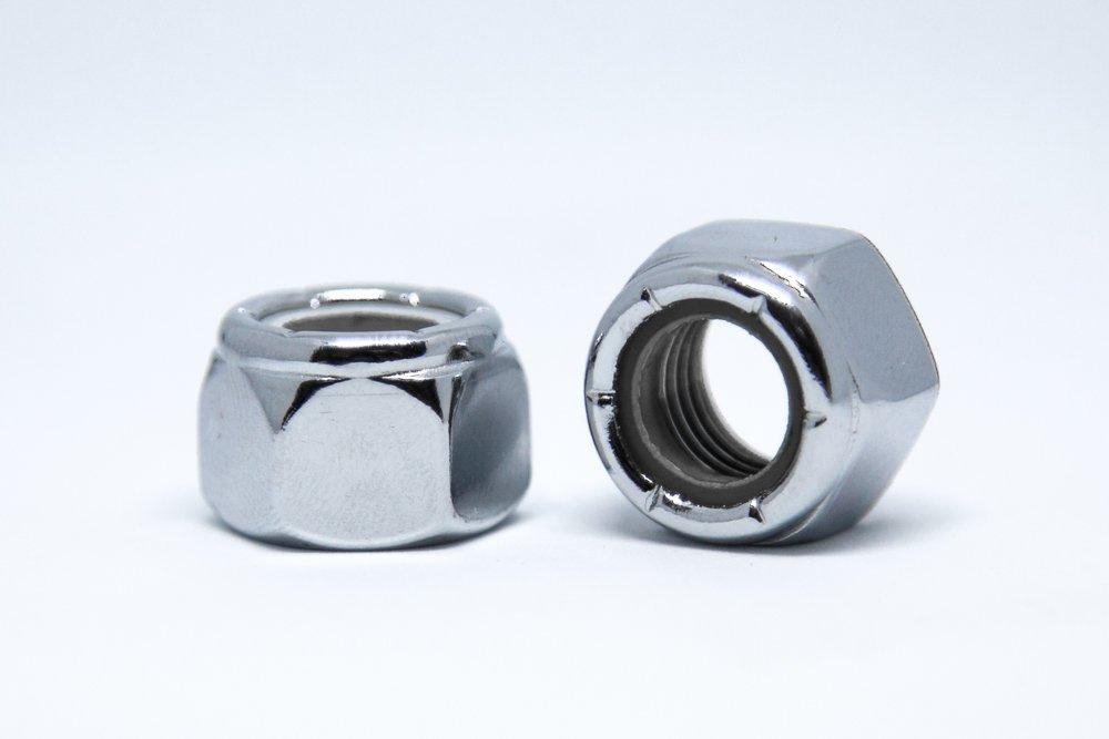 Chrome MPB278 Nylon Insert Lock Nut Pack of 10 Chrome 3//8-24 Alloy Steel