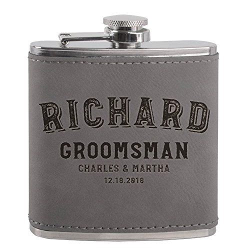 Personalized Groomsmen Flasks, Groomsmen Gifts | 6oz Leatherette Personalized Flask for Liquor w Optional Gift Box - Personalized Groomsman Proposal Gifts | Wedding Favor #2 ASH