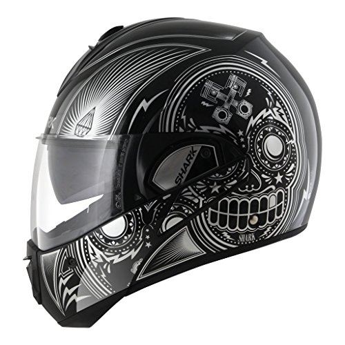 Shark Unisex-Adult Full Face Evoline 3 Mezcal Helmet (Chrome/Black/White, X-Small) (Shark Face Helmet)