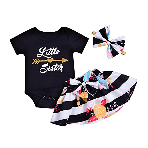 AlwaysFun 2 Styles Of Baby Girls LettersBig&Little SisterPrinted Tops+Floral Striped Pants+Hat+Headband Outfits Set (White-Black, 0-6Months)