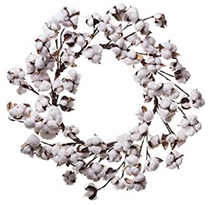 Farmhouse Full White Fluffy Cotton Boll Wreath Stem Branches - Welcome Home Decor Floral Artificial Wreath Bouquet for Front Door, Wall, Hallway & Entryway - 20-26 Inches (20-22 Inches)