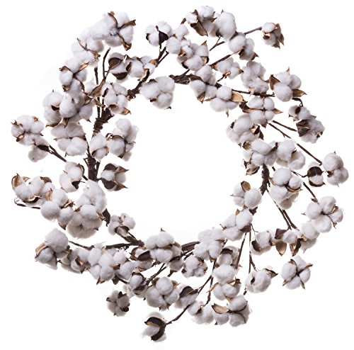 Farmhouse Full White Fluffy Cotton Boll Wreath Stem Branches - Welcome Home Decor Floral Artificial Wreath Bouquet for Front Door, Wall, Hallway & Entryway - 20-26 Inches (20-22 Inches) (Mantel Fireplace Garland For)