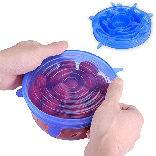 Bowl Covers Reusable Lid Covers Silicone Stretch Lids Cover for Bowls,Pots,Cups for Keeping Food Fresh,Dishwasher and Freezer Safe(6 Pack,Blue)