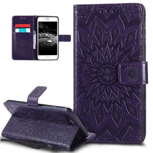 iPhone 8 Plus Case,iPhone 7 Plus Case,ikasus Embossing Mandala Flower Sunflower PU Leather Magnetic Flip Folio Kickstand Wallet Case with Card Slots Case for Apple iPhone 8 Plus/iPhone 7 Plus,Purple ()