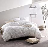 Nicole Miller Home 3pc King Seersucker Duvet Cover and Shams Set 100% Cotton Modern Squares White Ruched Textured Duvet Cover