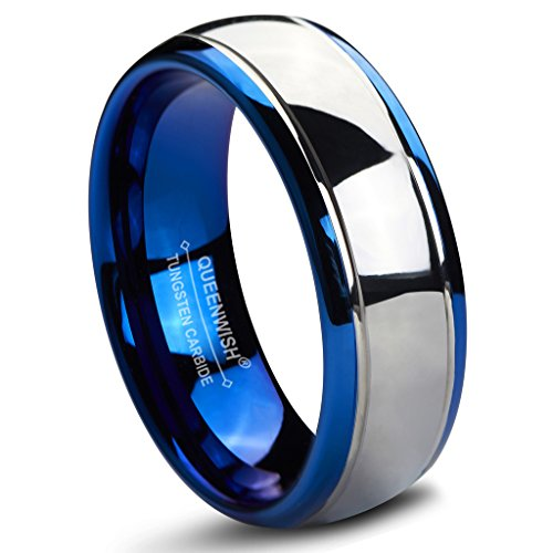 Queenwish 8mm Tungsten Carbide Wedding Bands Blue Silver Dome Gunmetal Promise Rings for Men 11.5 - Tungsten Carbide Dome