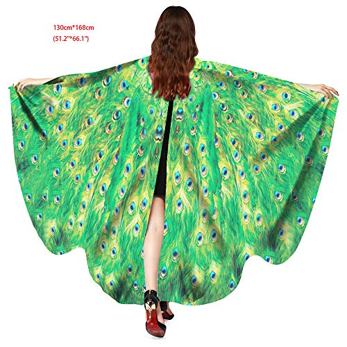 Halloween Party Soft Fabric Butterfly Wings Shawl Fairy Ladies Nymph Pixie Costume Accessory (Peacock Green)