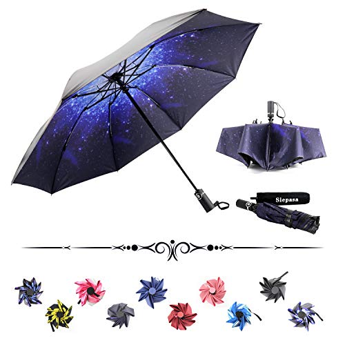 Siepasa Reverse Inverted Compact Light Windproof Travel Outdoor Umbrella -Auto Open Close(Starry Sky)