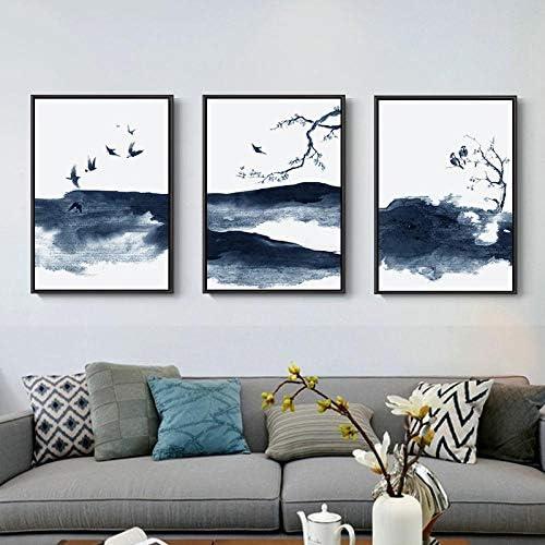 Llxhg中国抽象インク風景キャンバス絵画青ポスター飛ぶ鳥プリント壁アート写真用リビングルーム装飾-50×70センチ×3フレー