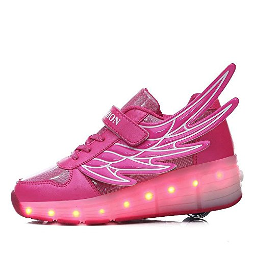 Fancyww Kids Boys Girls High-Top Shoes LED Light up Sneakers Single Wheel Double Wheel Roller Skate Shoes(Single-Leather-Pink-30/12 M US Little Kid)