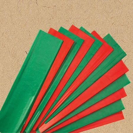 24 Red & Green Christmas Tissue Paper (Solid ()