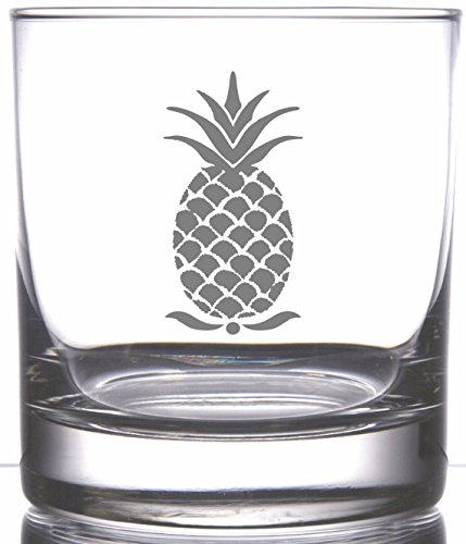 (IE Laserware Pineapple, the hospitable fruit! Perfect for the Hawaiian Themed Decor.Laser etch engraved on 12.5 oz Heavy Bottom Rocks Whiskey Scotch)