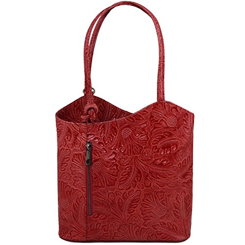 Tuscany Leather Bag Lady Patty Convertible Skin Floral Print Backpack - Red Tl141676 (dark Red)