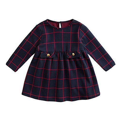 marc janie Baby Toddler Girls' Cotton Long Sleeve Casual Plaid Dress Navy Red Checks (Navy Red Plaid Dress)