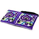 Sabai Jai Small Clutch Purse Ethnic Handbag for Women - Embroidered Bohemian Flower Wristlet for Girls - Handmade Bag,Medium,Violet