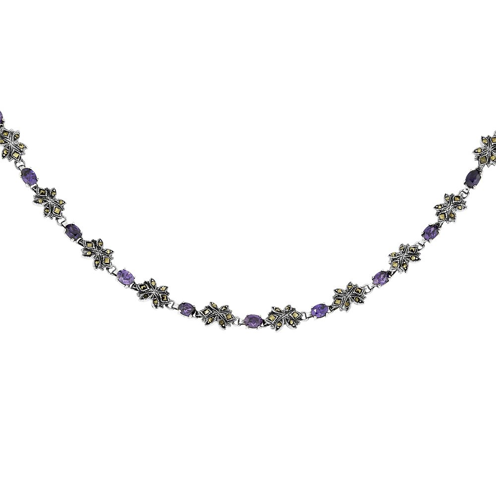 Sterling Silver Cubic Zirconia Amethyst Flower Marcasite Necklace, 16 inches long