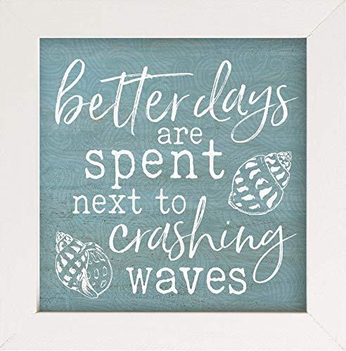 P. Graham Dunn Better Days Crashing Waves Nautical Blue 7 x 7 Wood Decorative Framed Art Plaque